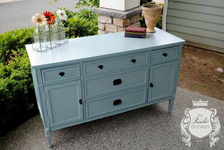 Small buffet done in #GeneralFinishes Persian Blue and sealed High Performance Top Coat flat.  Hardware updated in oil rubbed bronze.  #Painting #ShabbyChic #MilkPaint