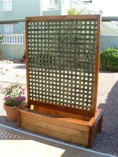 Moveable planter with trellis google search decks and for Trellis planter garden screen