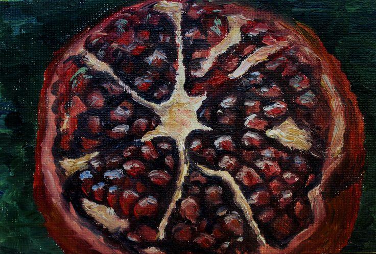 #art #miniature #oilpainting #oil #nature #fruit #garnet #fetus #red #inspiration #гранат #плод #природа #картинамаслом #миниатюра #красное #кровь #blood #масло #фрукт #природа