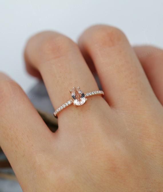 Morganite engagement ring Rose gold pear cut vintage Halo diamond Half eternity …