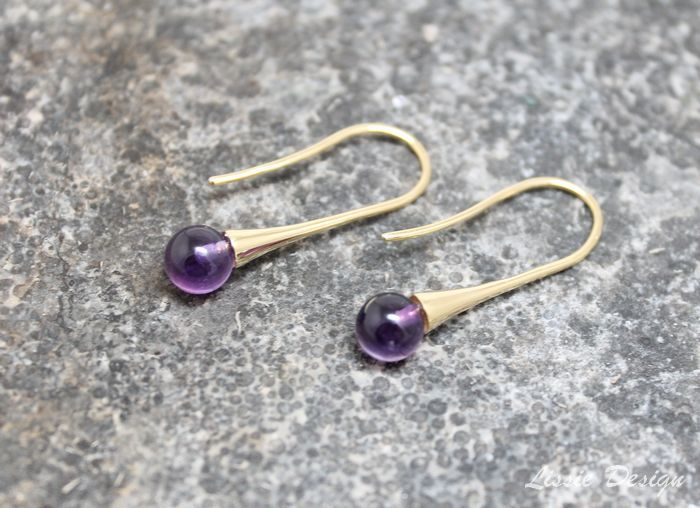 Gold Bold earrings with Amethyst Gold Bold ørepynt med Ametyst www.lissiedesign.no