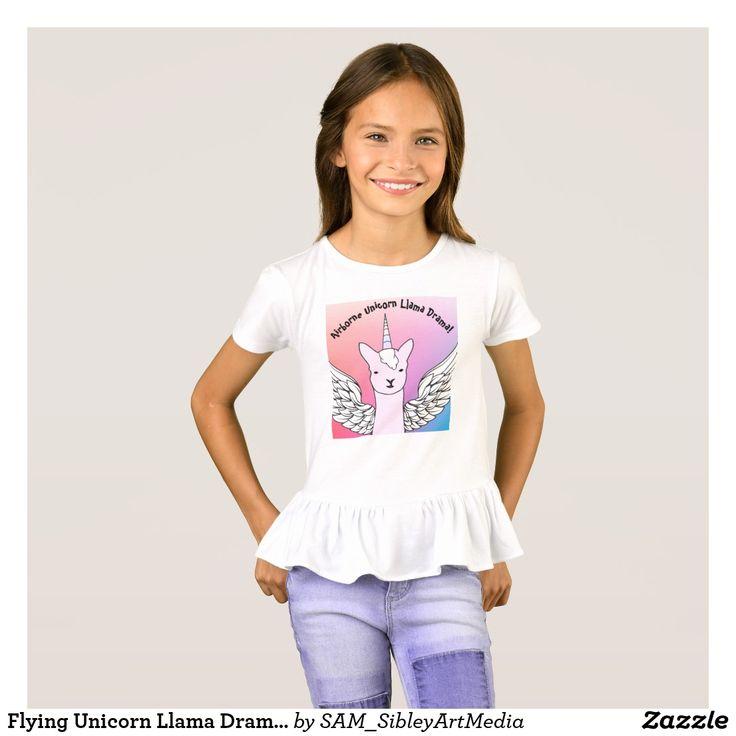 Flying Unicorn Llama Drama  Ruffled T-Shirt