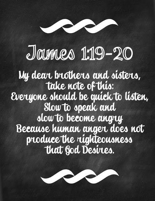 Chalkboard Bible Verse Free Printable James 1:19-20