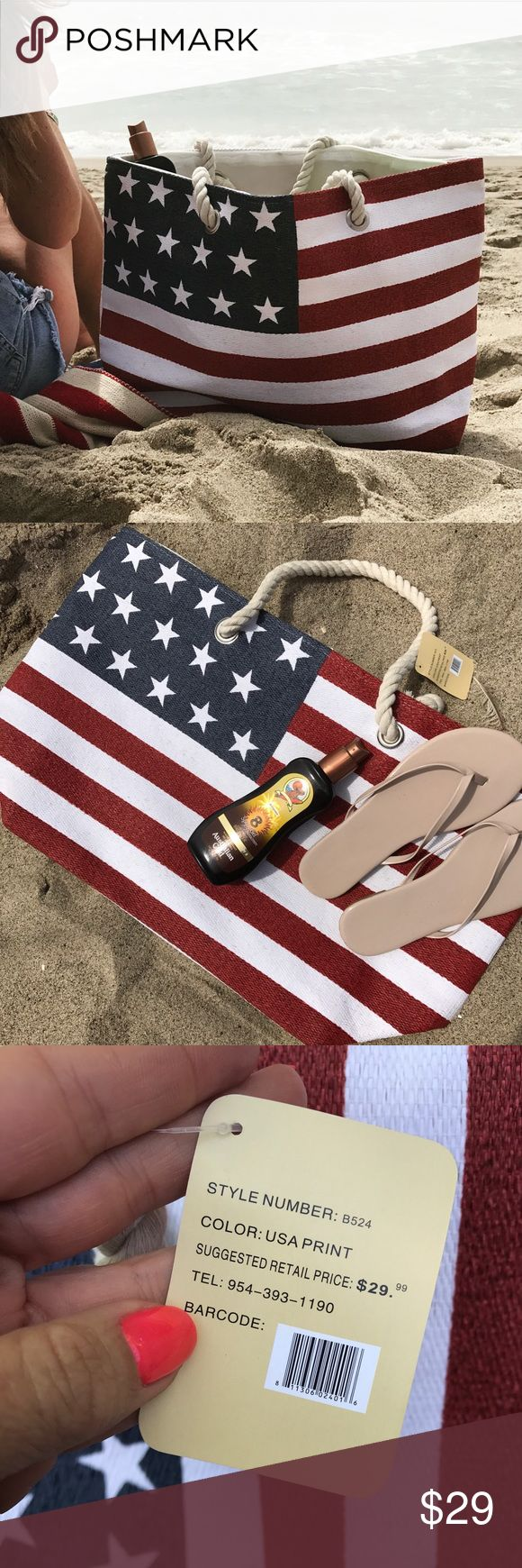 "NWT 🇺🇸 ALL AMERICAN BEACH TOTE 🏖 LARGE CAPACITY Brand NEW, TAGS ATTACHED SHIPS IN ORIGINAL PACKAGING. CLASSIC WOVEN BEACH BAG, with a big dose of AMERICANA 🇺🇸 LARGE CAPACITY Dimensions 23"" x 14"" x 8"". FULLY LINED.   Your search for the perfect summer tote is over 🏖   All man made materials. Quality you can see & feel.   Shop with POSH and save on sales tax 💰  Ships same or next day. Smoke free home.   Bundle to save. 👣❤️  Not KATE SPADE brand. Listed for exposure. kate spade Bags"