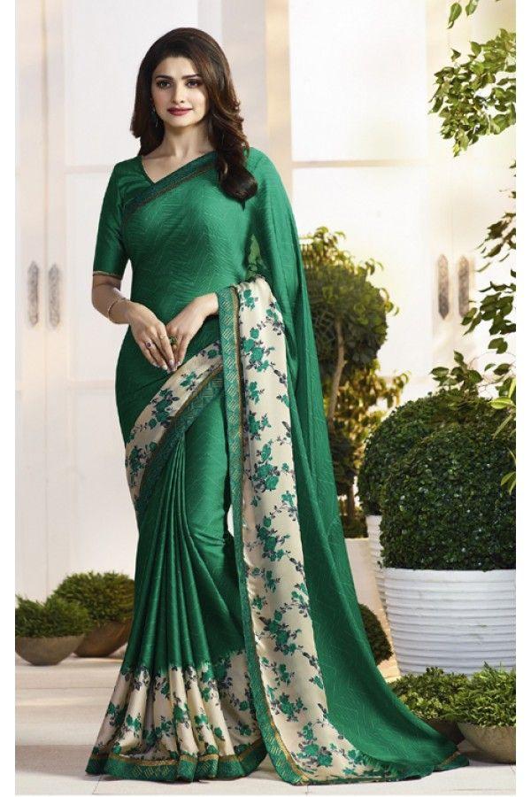 Prachi Desai In Green Satin Saree  - RKVF17979