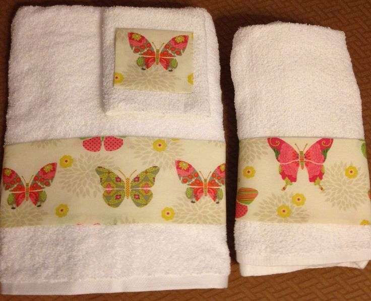 Butterflies & Flowers Bath Towels Set / Hand Towels, Washcloths New 3 Pieces #Classic