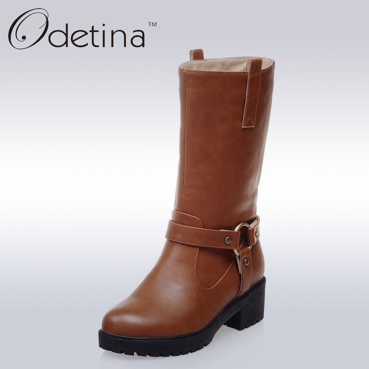 Find More Women's Boots Information about Odetina Autumn Women Chunky Heel Boots Brown Mid calf Boots Women High Heels Platform Boots 2016 Winter Shoes Famale Botas Mujer,High Quality boot holder,China shoe brake Suppliers, Cheap boot modes from Odetina - Store on Aliexpress.com