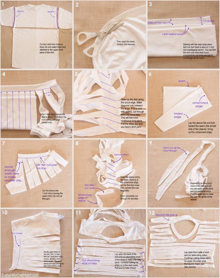 How to make tshirt yarn using the entire tshirt including the seams | DIY tshirt yarn tutorial