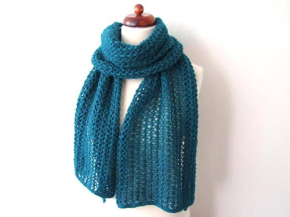 teal scarf with metallic thread handknit lace scarf gift for