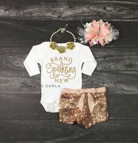 Brand Sparkling New long sleeve baby onesie by LolaandDarla