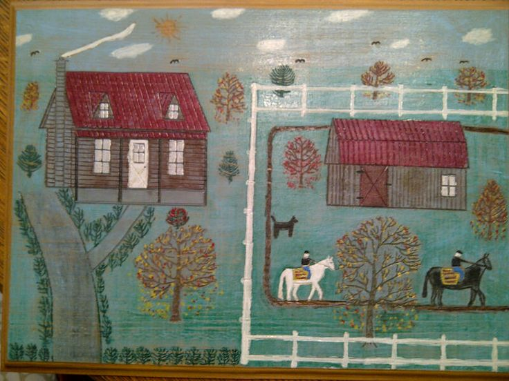 Interesting painting on board with incised accents throughout. Compelling, naive quality throughout.