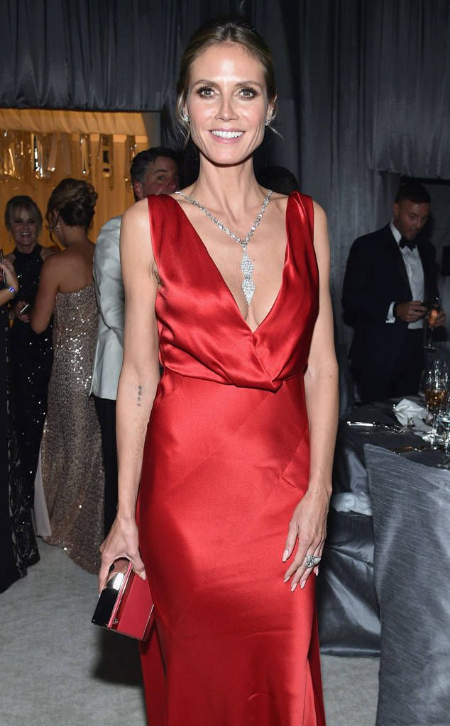 Heidi Klum from Oscars 2017: Party Pics  Alberta Ferretti dresses the supermodel for the 25th Annual Elton John AIDS Foundation's Academy Awards viewing party.