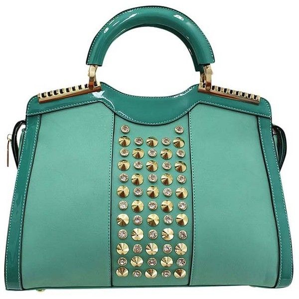 Mint Green Top Handle Bag With Gold Stud Hardware (190 RON) ❤ liked on Polyvore featuring bags, handbags, green, hardware bag, mint bag, mint green purse, green handbags et gold studded purse