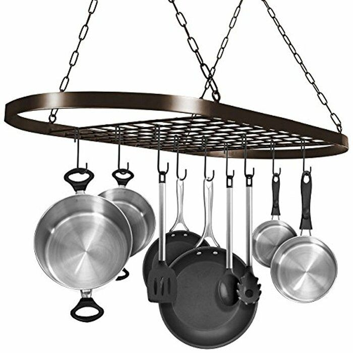 Hanging Pot Rack In 2020 Pot Rack Hanging Pan Hanger Pan Rack