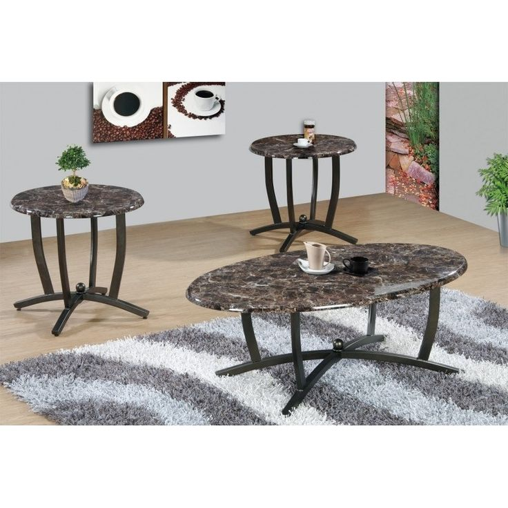 Best Quality Furniture 3-piece Brown Faux Marble Round Coffee and End Table Set, Black