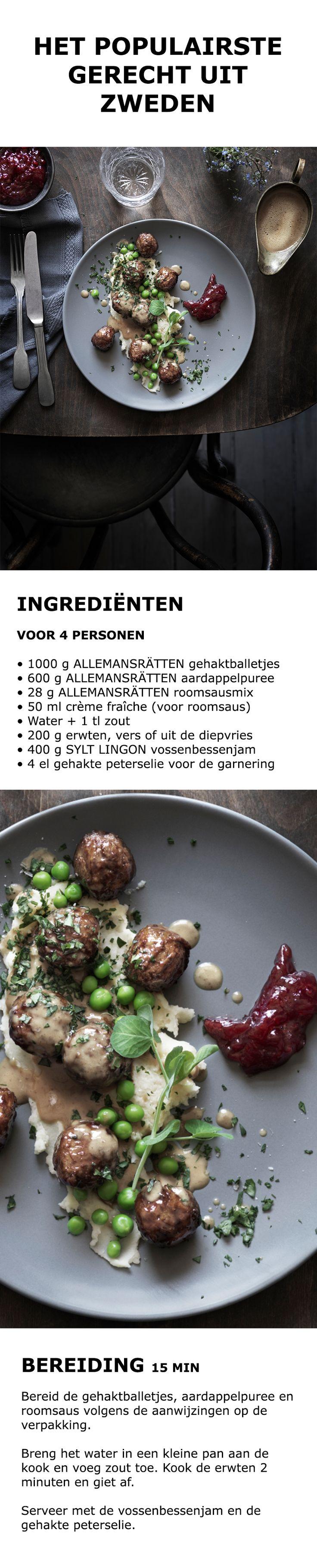 Inspiratie voor de feestdagen - Het populairste gerecht uit Zweden | IKEA IKEAnederland koken keuken recept herfst winter kerst diner lunch gehaktballetjes puree roomsaus vossenbessenjam