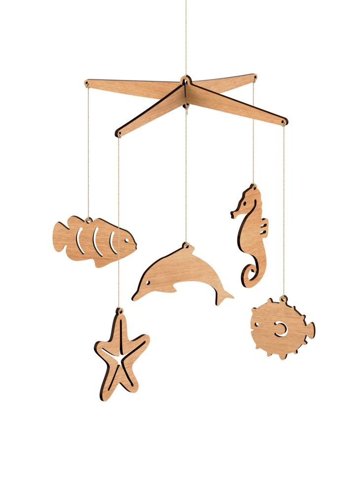 Wooden Sea Life Nursery Baby Mobile - Tasmanian Oak / Flat pack (Starfish, Dolphin, Clownfish, Seahorse, Blowfish) by ByrneWoodware on Etsy https://www.etsy.com/listing/195211919/wooden-sea-life-nursery-baby-mobile