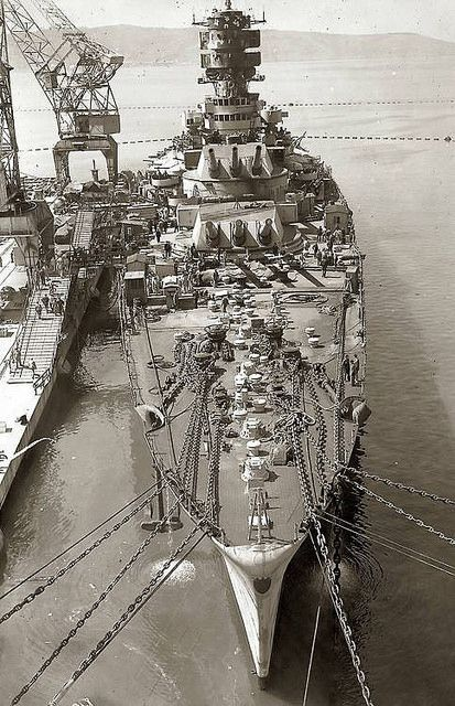 15 in Italian battleship Roma: not completed until June 1942 due to resource shortages (well over 2 years after her sisters Littorio and Vittorio Veneto), she was the only one of the trio not to survive WW2, being sunk by German radio controlled glider bombs whilst en route to Malta to surrender to the Allies in September 1943.