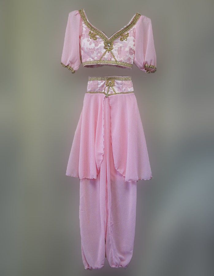 Amazing Arabian costume for Nutcracker's Arabian Pas de Deux, La Bayadere or Le Corsaire market scene. This two piece costume is made in brocade and chiffon in a beautiful shade of light pink. The sho