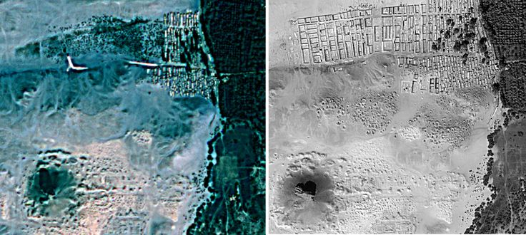 Sarah Parcak Is a Space Archaeologist. Soon You Will Be Too.  A satellite image of Dashur, Egypt before processing (left) and after (right).