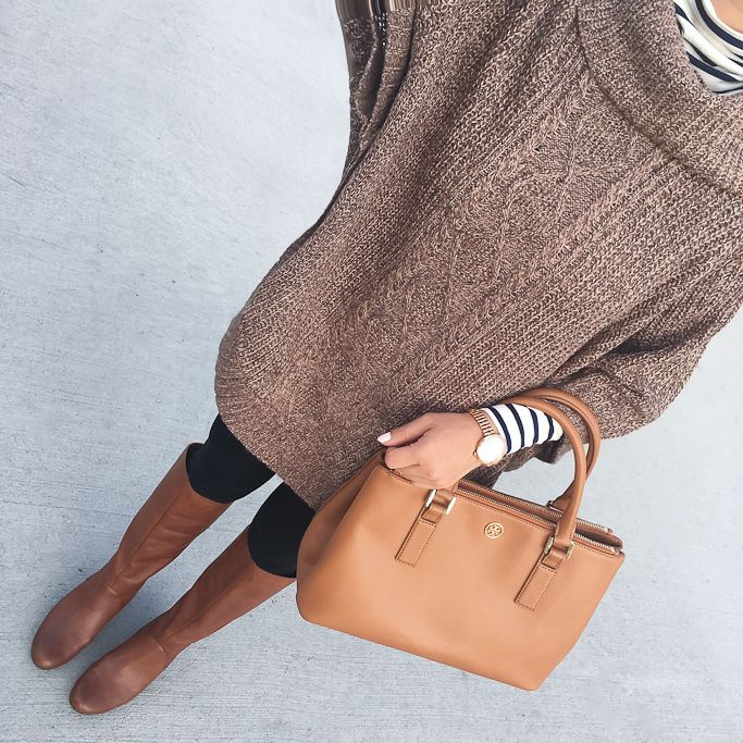 black ponte skinny ankle pants, BP runway cognac boots, Cable-Knit Cowl-Neck Poncho, Striped turtleneck, petite fashion, fall outfits, camel purse, click the photo for outfit details!