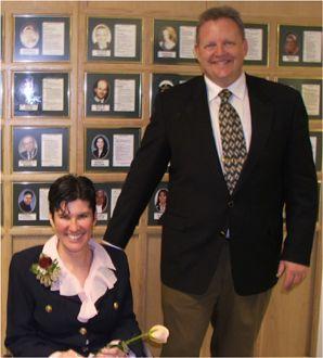 With Mr. Brack in front of the Wall of Distinction, Lethbridge Collegiate Institute, Lethbridge, Alberta 2005