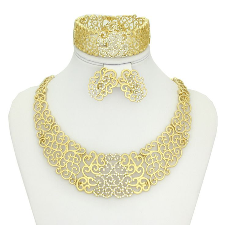 New vintage wholesale&retail jewellery flower hollow out crystal dubai  african nigerian Ghana  yellow gold plated jewelry sets