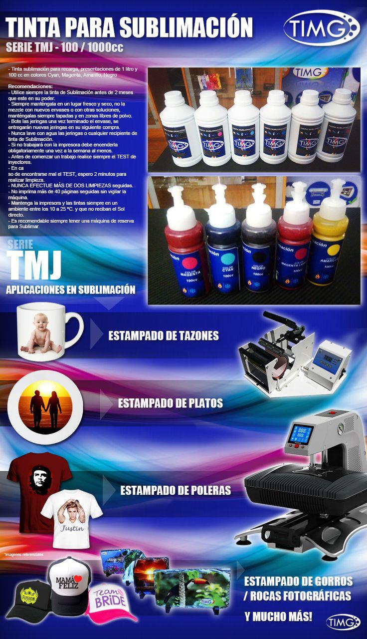 Nuevas tintas de sublimación TMJ en variedad de 6 colores litro y 100cc - Agregando economia a tus estampados - http://www.suministro.cl/category_s/1635.htm