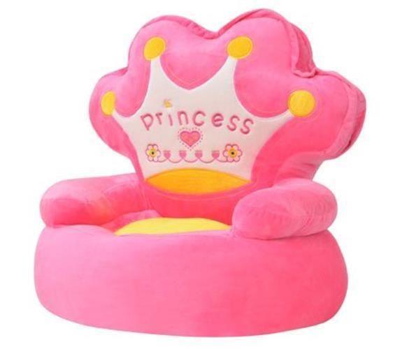 Pink Plush Childrens Chair Bedroom Playroom Kids Stuffed Soft Sofa