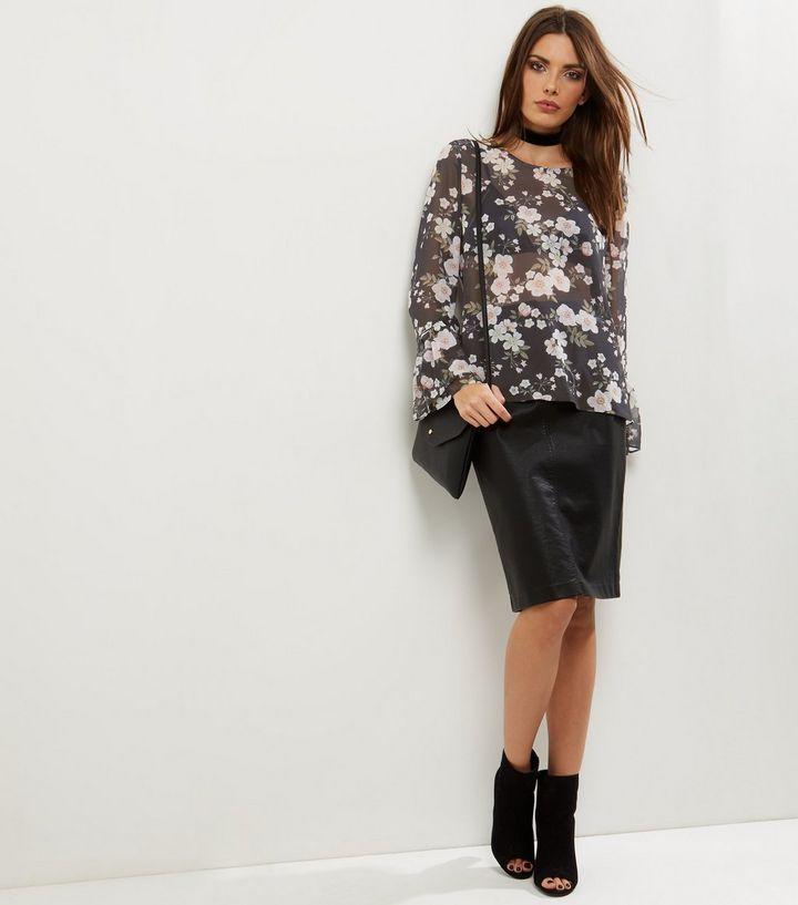 Black Floral Print Sheer Bell Sleeve Top | New Look