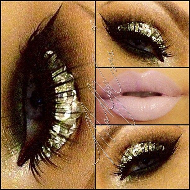 glitter eye. soft lip.