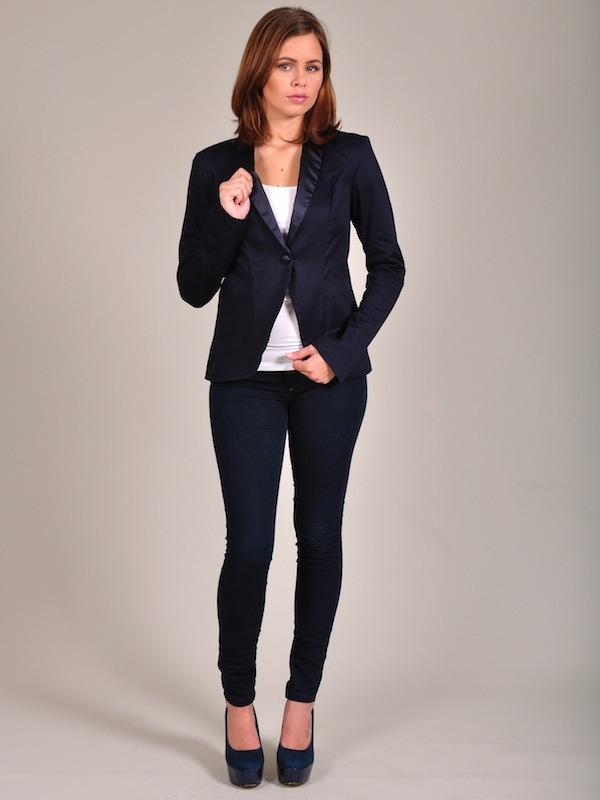 Diligo navy satin detail blazer | www.diligo.co.za