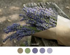 LAVENDEL - Mooie tinten paars / lila en vaal groen. Bosje lavendel in bruin papier op een oud bankje.