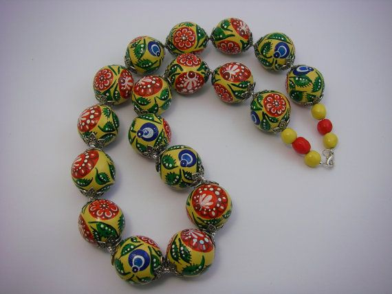 Handpainted Birch Wood Beads-Necklace.Gorodets