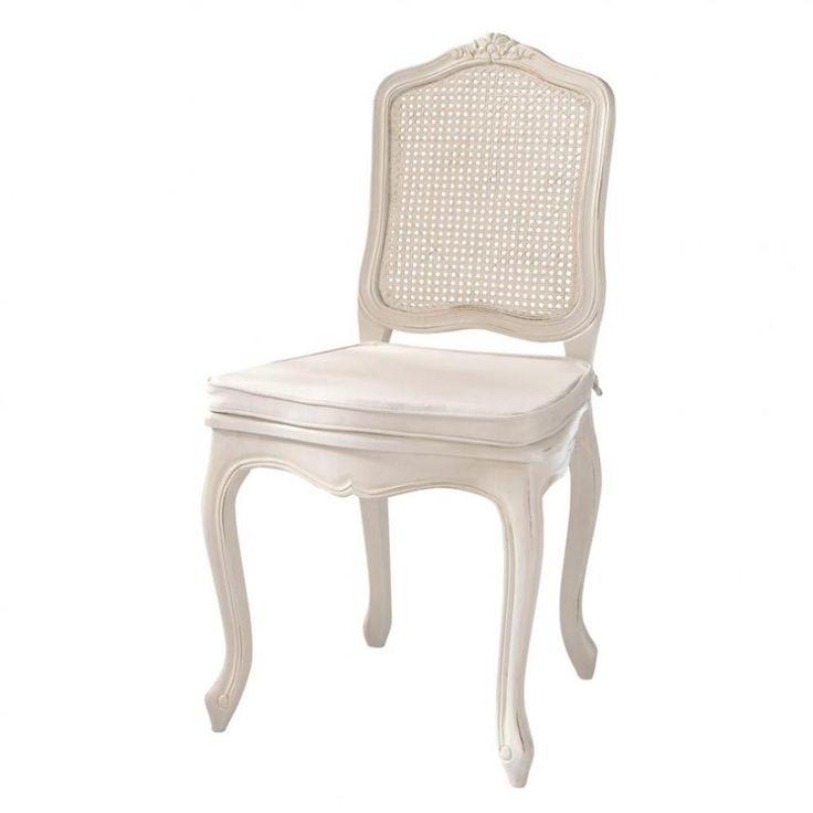 Chaise cannée en bois ivoire Gustavia