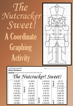 Celebrate Winter with this festive coordinate graphing activity. Students are given a list of coordinate points to connect.  They should connect the points only within the designated zones. When they are done, they will have a picture of The Nutcracker standing at attention.