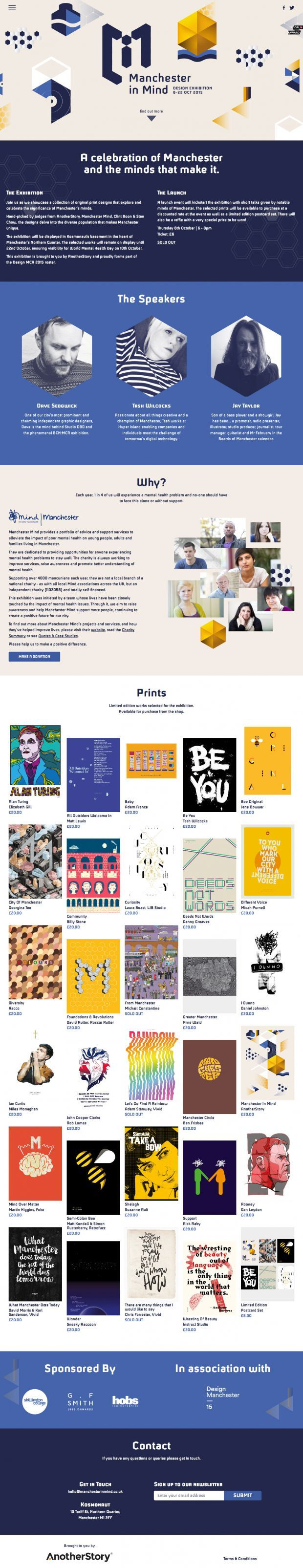 A celebration of Manchester and the minds that make it. DESIGN EXHIBITION 8TH - 15TH OCT 2015 - Best Webdesign inspiration on www.niceoneilike.com #Agency, #html5, #css3, #Webdesign, #Brand, #Inspiration, #Scrolling #Site, #Digital, #Design, #Website