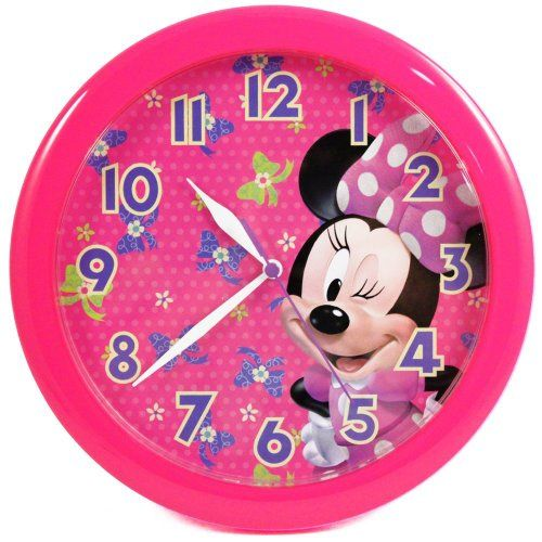"SAVE $20.04 - #10"" Minnie Mouse Wall Mount Clock Collectible Quartz Disney Childrens Room Decor $19.95"