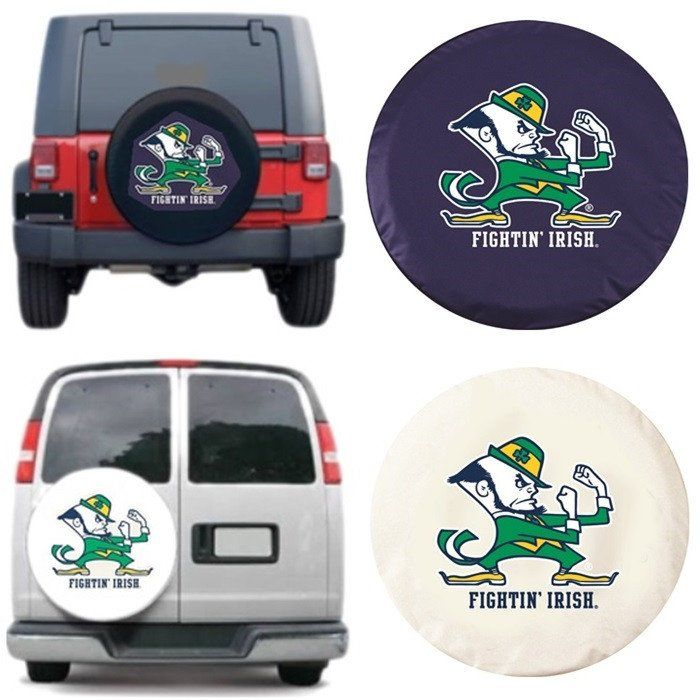 The Notre Dame Fighting Irish Tire Cover will look great covering your spare tire. Exact fit. Excellent quality. Free shipping. Officially Licensed by the NCAA. Visit sportsfansplus.com for details.