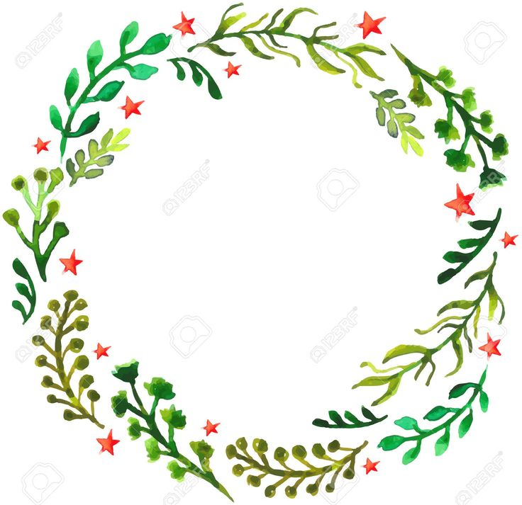 Natural floral circle background with green