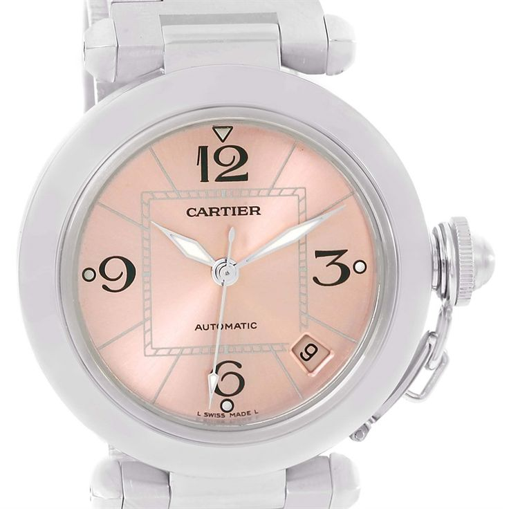Cartier Pasha C Stainless Steel Pink Dial Ladies Watch W31075M7