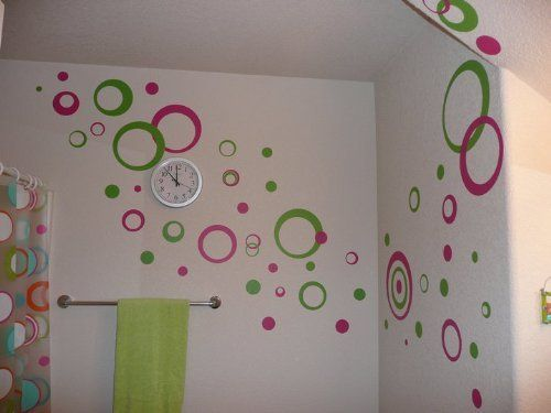 "Hot Pink & Lime Green Wall Circle Bubble Stickers Rings & Dots Decals 50+pc 11"" Wall Decor Plus More, www.amazon.com/..."