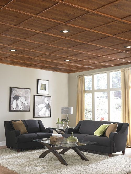 """Great way to upgrade ugly dropped ceiling that screams, """"basement!"""" WoodTrac moldings snap onto a standard 15/16″ wide metal suspended ceiling grid using patented clips..."""