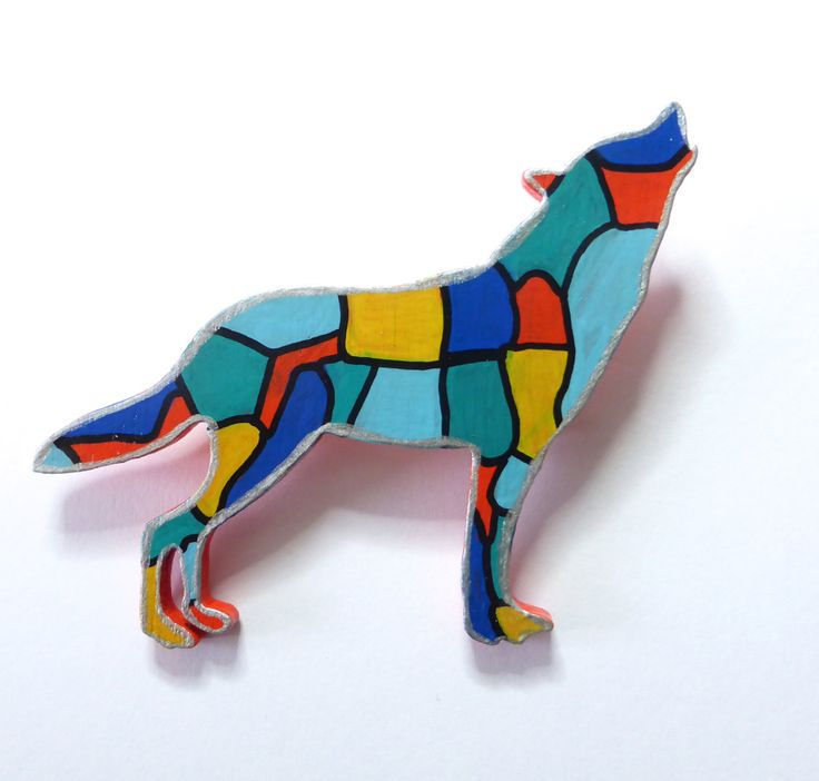 Wolf Brooch, Hand Painted Brooch, Animal Brooch, Original Art, Abstract Art, Mondrian Inspired, Wood Brooch, Painted Jewelry, Gift For Her by Larryware on Etsy