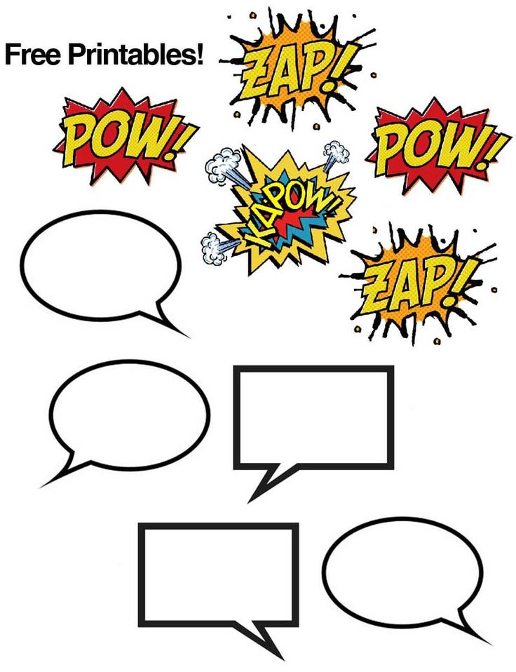 Comic book printables, great for a super hero theme!