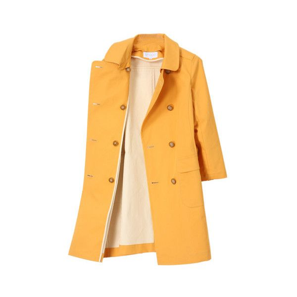 MACKINTOSH PHILOSOPHY ストライプ ボンディングコート (11 570 UAH) ❤ liked on Polyvore featuring outerwear, coats, jackets, tops, women coats and yellow coat
