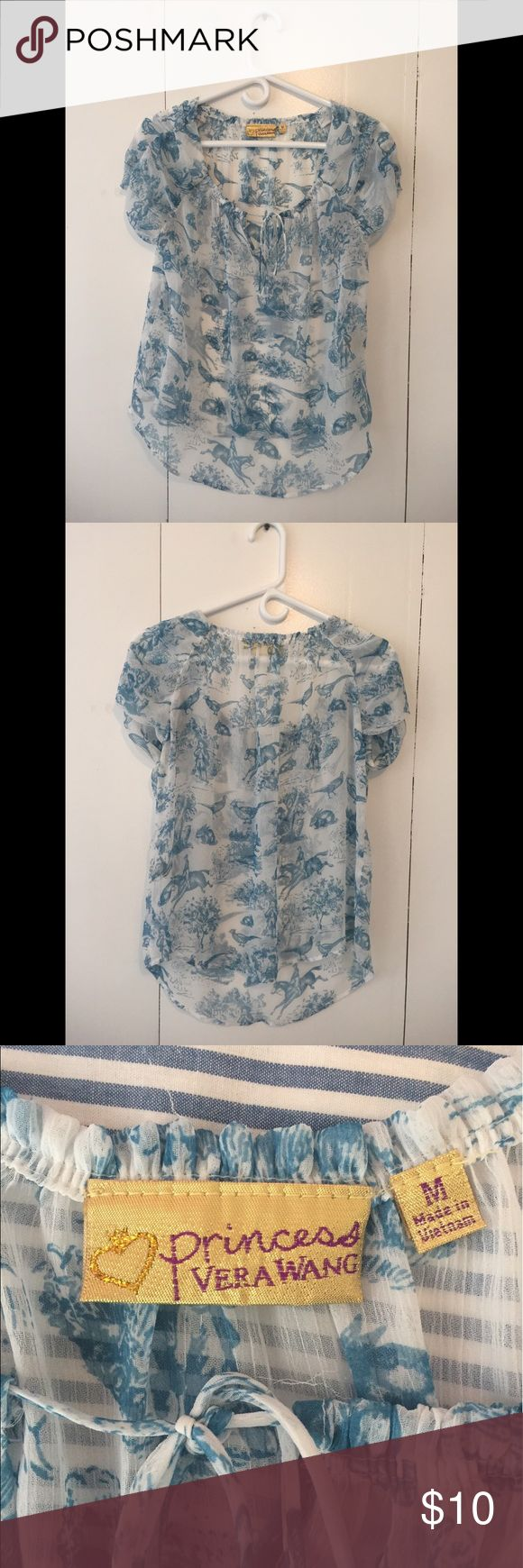 Blouse - Hunter Pattern Fun, comfortable blouse with old-time hunting scenes, light blue, short-sleeved Vera Wang Tops Blouses