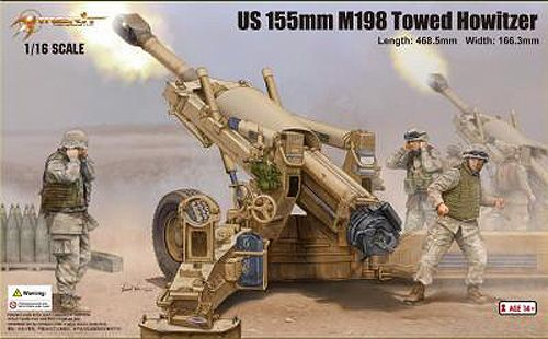 Merit International 1:16 M198 155mm Plastic Model Gun Kit MIL-61602 This M198 155mm Towed Howitzer Plastic Model Gun Kit features working wheels. It is made by Merit International and is 1:16 scale. The M198 howitzer is a medium-sized, towed artillery piece, developed for service with the United States Army and Marine Corps. It was commissioned to be a lightweight replacement for the WWII-era M114 155mm howitzer. It was designed and prototyped at the Rock Island Arsenal in 1969 with…