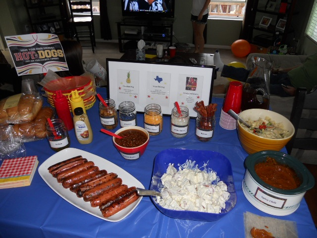 the table set up for my hot dog bar parties pinterest. Black Bedroom Furniture Sets. Home Design Ideas