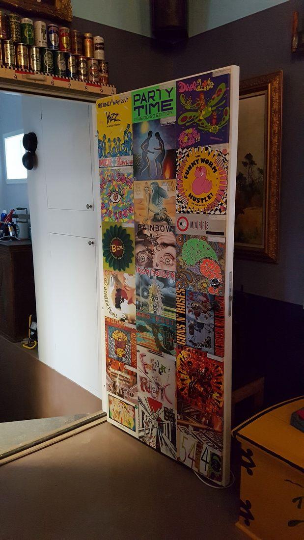 Door with vinyl record convolute party room